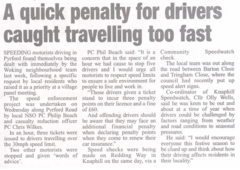 Community Speed Watch Press Cutting